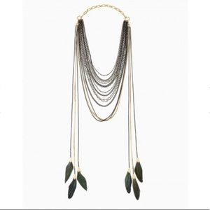 Stella & Dot Layered Feather 3 in 1 Necklace